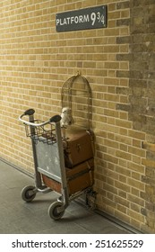 London, England - October 14, 2014: Harry Potter platform 9 3/4 in King's Cross Station