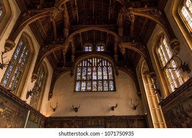 London, England - October 14, 2015: The Great Hall in Hampton Court Palace was used both for high ceremony and fantastic entertainments and was the room for great feasts of Henry the VIII.