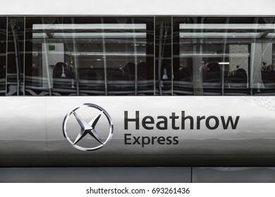 LONDON, ENGLAND - OCTOBER 15 2013: Heathrow express train at Liverpool street station