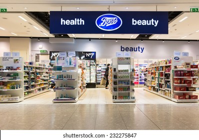 LONDON, ENGLAND  OCTOBER 15, 2014: A branch of Boots. Boots has 2,500 stores and is a member of Alliance Boots, an international pharmacy-led health and beauty group.