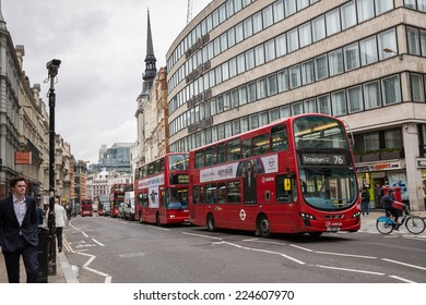 London, England - October 15: View of a London double decker bus in London, England on October 15, 2014.