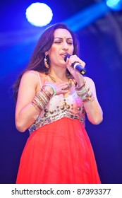 LONDON, ENGLAND - OCTOBER 16: Celebrity Indian singer Shivali Brammer performs live on stage at the Diwali Festival of Light in Trafalgar Square on October 16, 2011 in London, England..