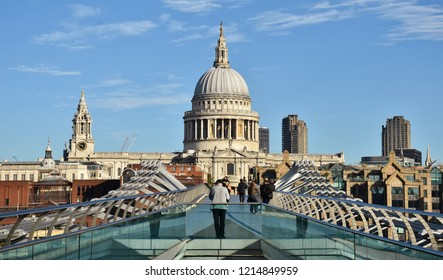 London, England - October 19, 2018: The Millennium Bridge in London, which crosses the Thames River and connects St. Paul's Cathedral to the Tate Modern.