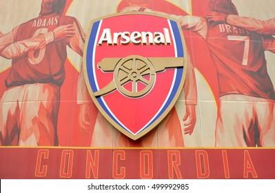 London, England - October 2013 : Arsenal Logo on Emirates Stadium, The Gunners Football Club in Premier League