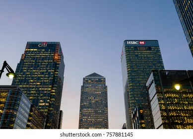 London, England. October 2016. The three main skyscapers in Canary Wharf at sunset. In the frame One Canada Square, the HSBC, CITI, buildings.
