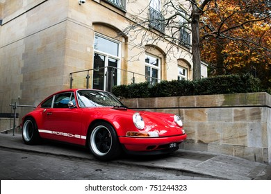 London, England - October 2017: Singer 911 supercar parked in central London. Sports cars like this Singer Porsche can be quite commonly seen in wealthy districts of London.