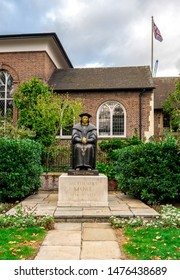 London, England, October 2017: A statue of Sir Thomas More in front of Chelsea Old Church