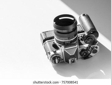 London, England - October 21, 2017: Nikon FE single lens reflex 35mm professional film camera, First launched in 1978 and remained in production until 1983.