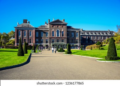 LONDON, ENGLAND - OCTOBER 22: Kensington Palace, a royal residence set in Kensington Gardens, in the Royal Borough of Kensington and Chelsea in London, England, United Kingdom