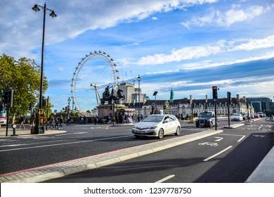 LONDON, ENGLAND - OCTOBER 22: View of London Eye from Westminster Bridge in London, England, United Kingdom