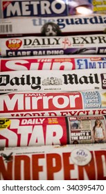 London, England - October 23, 2013: Row of Newspapers from the United Kingdom
