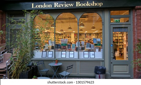 LONDON, ENGLAND - OCTOBER 23, 2017: Through the window of the London Review Book Shop, near the British Museum in London, UK