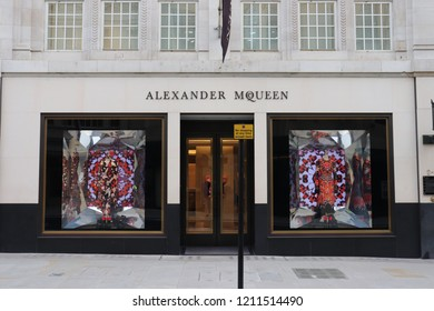 London, England, October 23rd 2018: Alexander McQueen store in Old Bond Street, London