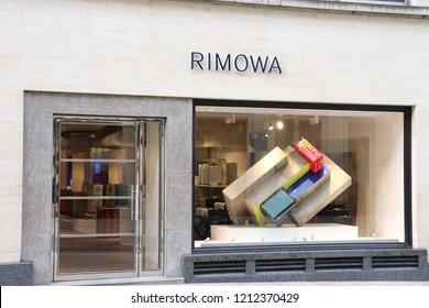 London, England, October 23rd 2018: Rimowa store in New Bond Street, London