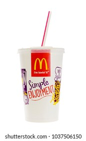 London, England - October 25, 2015: McDonald's Cola with Straw, McDonald's is the world's largest chain of hamburger fast food restaurants.