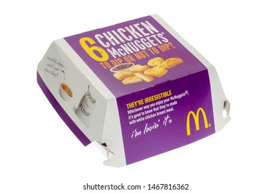 London, England - October 25, 2015: Box of McDonald's Chicken McNuggets, McDonald's is a fast food restaurant chain founded in 1940.