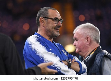 LONDON, ENGLAND - OCTOBER 25, 2018: Chelsea manager Maurizio Sarri pictured prior to the 2018/19 UEFA Europa League Group L game between Chelsea FC and BATE Borisov (Belarus) at Stamford Bridge.