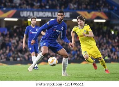 LONDON, ENGLAND - OCTOBER 25, 2018: Ruben Loftus-Cheek and Dzmitry Baha pictured during the 2018/19 UEFA Europa League Group L game between Chelsea FC  and BATE Borisov at Stamford Bridge.