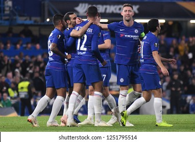 LONDON, ENGLAND - OCTOBER 25, 2018: Ruben Loftus-Cheek celebrates with his teammates after he scored his third goal during the 2018/19 UEFA Europa League Group L game between Chelsea and BATE Borisov.