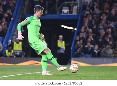 LONDON, ENGLAND - OCTOBER 25, 2018: Kepa Arrizabalaga of Chelsea pictured during the 2018/19 UEFA Europa League Group L game between Chelsea FC (England) and BATE Borisov (Belarus) at Stamford Bridge.