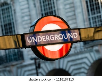 London, England - October 27, 2017: London Underground Train Station Sign, The Tube network in London began service in 1863 and now has 270 stations.