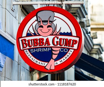 London, England - October 27, 2017: Bubba Gump Shrimp Co restaurant sign in London, A Forrest Gump themed restaurant serving seaford and american style food, Founded in 1996