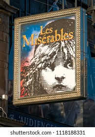 London, England - October 27, 2018: Les Miserables sign above a theatre in London's west end, Les Miserables is a stage production and also a film, Originally a book written in 1862