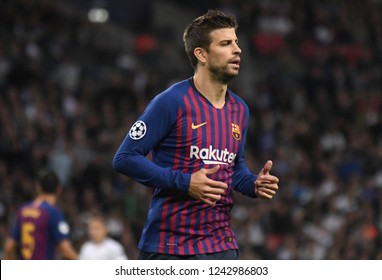 LONDON, ENGLAND - OCTOBER 3, 2018: Gerard Pique pictured during the 2018/19 UCL Group B game between Tottenham Hotspur and FC Barcelona at Wembley Stadium.