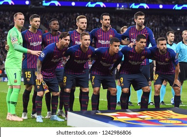 LONDON, ENGLAND - OCTOBER 3, 2018: Barcelona lineup pictured prior to the 2018/19 UCL Group B game between Tottenham Hotspur and FC Barcelona at Wembley Stadium.