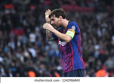LONDON, ENGLAND - OCTOBER 3, 2018: Lionel Messi celebrates after a goal score during the 2018/19 UCL Group B game between Tottenham Hotspur and FC Barcelona at Wembley Stadium.