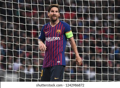 LONDON, ENGLAND - OCTOBER 3, 2018: Lionel Messi pictured during the 2018/19 UCL Group B game between Tottenham Hotspur and FC Barcelona at Wembley Stadium.