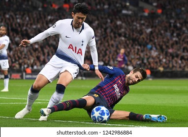 LONDON, ENGLAND - OCTOBER 3, 2018: Heung-Min Son pictured during the 2018/19 UCL Group B game between Tottenham Hotspur and FC Barcelona at Wembley Stadium.