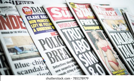 London, England - October 4, 2013: Row of Newspapers from the United Kingdom