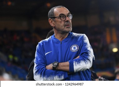 LONDON, ENGLAND - OCTOBER 4, 2018: Maurizio Sarri pictured during the 2018/19 UEFA Europa League Group L game between Chelsea FC and MOL Vidi FC at Stamford Bridge.