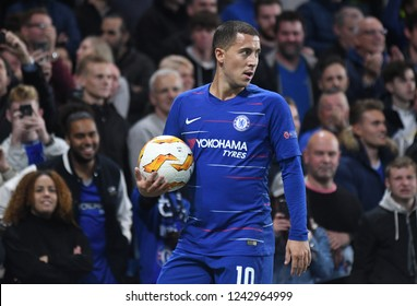 LONDON, ENGLAND - OCTOBER 4, 2018: Eden Hazard pictured during the 2018/19 UEFA Europa League Group L game between Chelsea FC and MOL Vidi FC at Stamford Bridge.