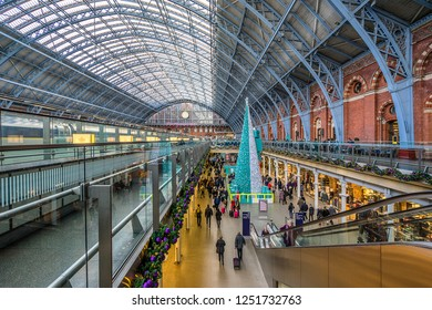 London England on 30th Nov 2018:St Pancrass International station is the main rail terminal for  Eurostar train departures from London to the European mainland.