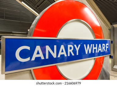 LONDON, ENGLAND - SEP 30: Underground Canary Wharf tube station in London on September 30, 2012. The London Underground is the oldest underground railway in the world covering 402 km of tracks