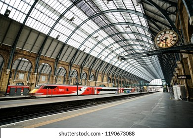 London, England - SEPT 22, 2018: Interior of the Kings Cross Train Station in London. Kings Cross is one of London's most famous stations in part because of the Harry Potter movies.