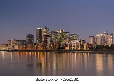 LONDON, ENGLAND - SEPT 22: Canary Wharf on the September 22nd, 2014 in London,England.Canary Wharf is the HQ of major banks including Barclays, Citigroup,
