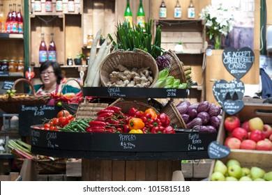 LONDON, ENGLAND - September 15, 2017 Various vegetables for sale at Borough market