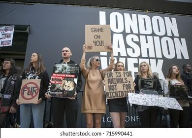 LONDON, ENGLAND - September 15, 2017 Anti fur protest during the London Fashion Week. outside Eudon Choi