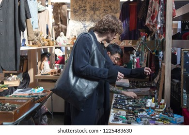 LONDON, ENGLAND - September 15, 2018 Covered Old Spitalfields Market in Tower Hamlets with unidentified people.