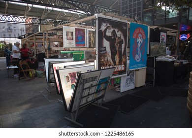 LONDON, ENGLAND - September 15, 2018 Covered Old Spitalfields Market in Tower Hamlets with unidentified people. Posters with King Kong