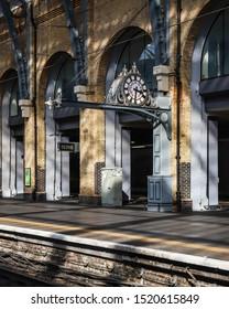 LONDON, ENGLAND - SEPTEMBER 15, 2019: Empty platform at Kings cross station in London, England