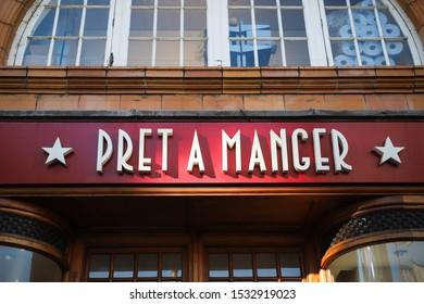 LONDON, ENGLAND - SEPTEMBER 15, 2019: Pret a Manger sign on café at Earls court station in London, England