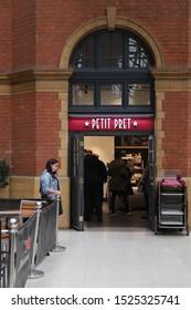 LONDON, ENGLAND - SEPTEMBER 16, 2019: Petit Pret café at Marylebone station in London, England