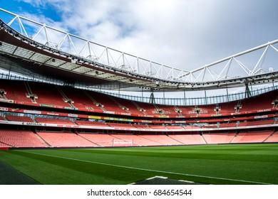 LONDON / ENGLAND - September 18, 2015 : Inside the Emirates stadium, home of Arsenal football club.