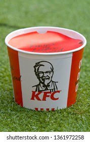 London, England - September 18, 2018: KFC or Kentucky Fried Chicken Bargain Bucket, Kentucky Fried Chicken was founded by Harland Sanders in 1930 and is now a worldwide brand. - Image