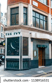 London, England - September 20, 2009: The Ivy Restaurant, West Street, London, Britain. First opened by Abel Giandellini in 1917 as a Cafe. Is now a very popular venue for celebrities to dine.