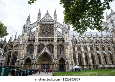 LONDON, ENGLAND, September 2018. Exterior of the Westminster Abbey, visited by tourist everyday. People in queue to enter the church.